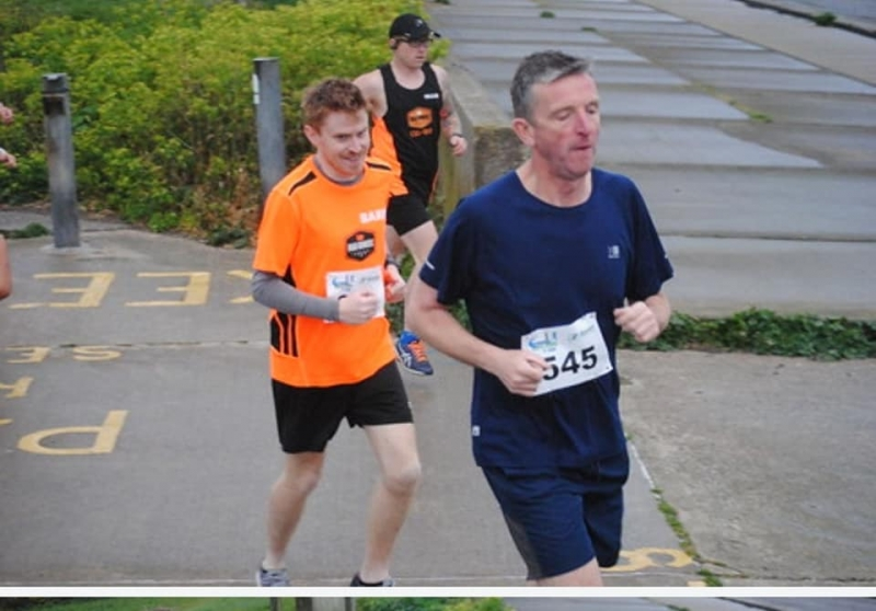 Barry putting an overtake on Olly at the Seaside 5k